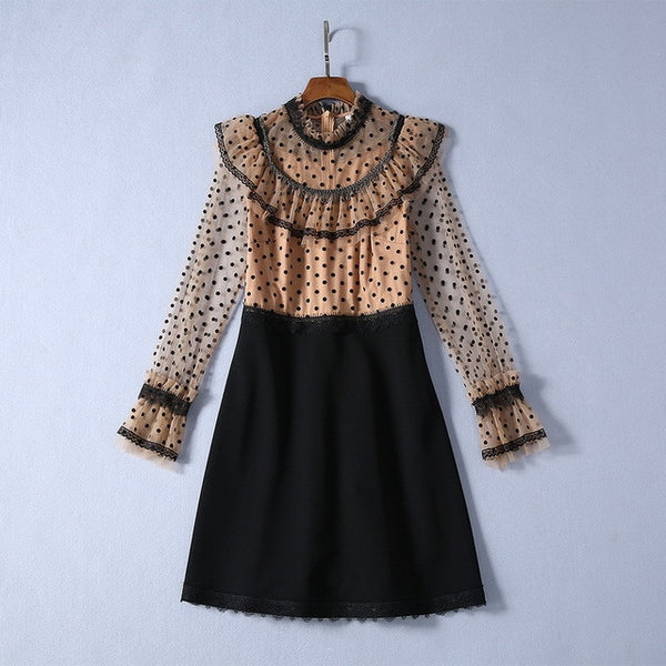 Retro Palace Style 2020 Spring New Beads Tassels Gauze Polka Long Sleeve Dress Women's Dress 200110JT04