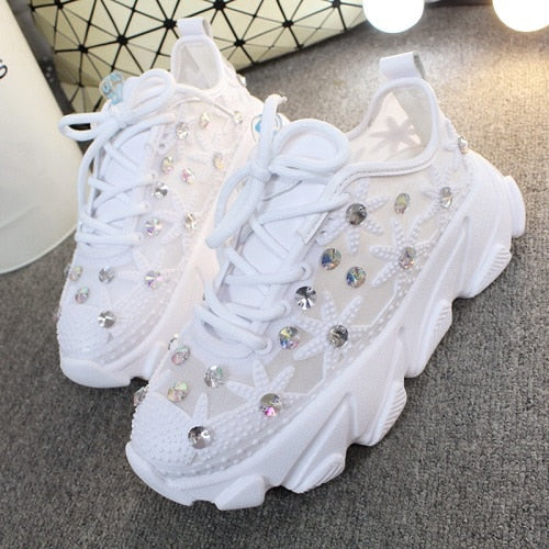 Rhinestone Wedge Sneakers Women Trainers Dames Chunky Sneaker Platform 2019 White Sneaker Casual Shoes Woman chaussures femme