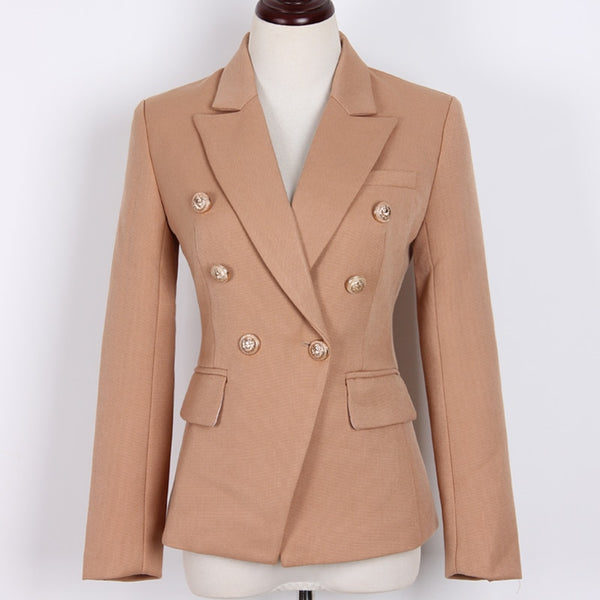 S-3XL high quality new fashion solid color texture thick fabric Slim double-breasted women's suit jacket three colors