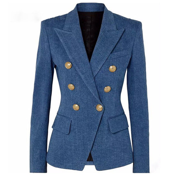 S-XXL High quality 2019 fashion new classic double-breasted imitation denim slim self-service casual commuter woman Blazers