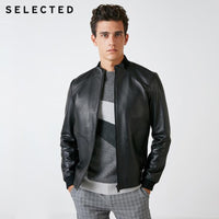 SELECTED Men's Spring Black Sheepskin Genuine Leather Coats Stand-up Collar Zip-through Clothes Leather Jacket S | 418310511