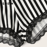 SHEIN Black Letter Print Top and Lace Trim Striped Shorts PJ Set Summer Pajamas Women Casual Sleepwear Nightwear Pajama Sets