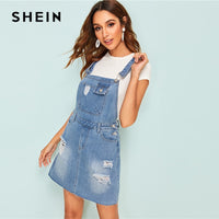 SHEIN Bleach Wash Ripped Denim Dungaree 2019 Preppy Summer Shift Dress Blue Straps Pinafore Sleeveless Women Dress