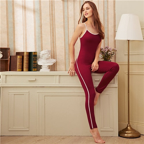 SHEIN Burgundy Contrast Binding Cami Jumpsuit Women Nightwear Autumn Casual Sporting Slim Fitted Sleepwear Jumpsuits