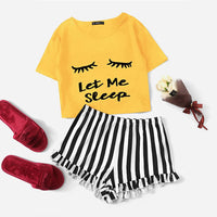 SHEIN Ginger Graphic Tee And Frilled Striped Shorts Pajamas For Women Round Neck Short Sleeve 2019 Summer Pajama Sets NightWear