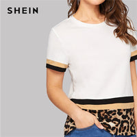 SHEIN Multicolor Color Block Leopard Print Tee Women Slim Fit T-shirt Summer Stretchy Round Neck Spring Solid Tshirts Top