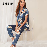 SHEIN Multicolor Floral Print Satin Casual Pajama Set Women Summer Autumn Button Placket Short Sleeve Notched Neck Sleepwear