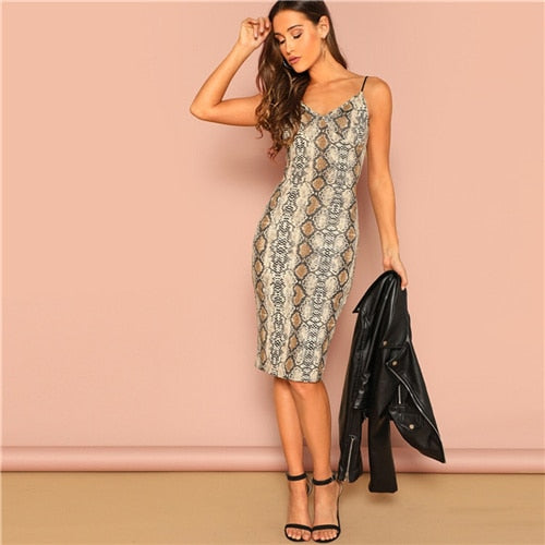 SHEIN Multicolor Sexy Party Backless Leopard Print Cami Sleeveless Pencil Skinny Club Dress Autumn Night Out Women Dresses