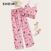 SHEIN Pink Cherry Print Crop Cami Top and Paperbag Waist Long Pants PJs Women Set Summer Casual Sleeveless Sleepwear Pajama Sets
