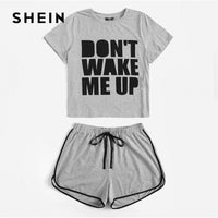 SHEIN Plus Size Grey Slogan Print Tee And Dolphin Hem Shorts Pajama Sets 2019 Women Summer Sleepwear Casual Plus PJ Set