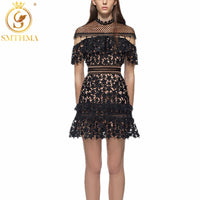 SMTHMA 2019 new arrival self portait Dress summer Runway  black Lace Dress