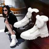 SWYIVY Female Winter Martin Boots 2018 New Leather Plush Velvet White Cotton Shoes British Style Warm Zipper Woman Ankle Boots