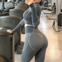 Seamless Workout Yoga Sets Female Sport Gym suit Wear Running Clothes women Fitness Sport Yoga Suit Long Sleeve + Leggings