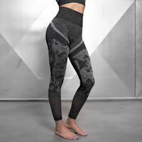free shipping Seamless Yoga Sets Workout Clothes For Women Gym Clothing Sports Wear Fitness Suit Camouflage Long Sleeve 2 Piece Activewear Set