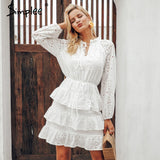 Simplee Elegant hollow out white dress women 2018 Summer embroidery ruffles lace up dresses Casual streetwear bodycon dress