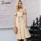 Simplee Sexy off shoulder ruffle women dress Elegant black button cotton summer dress Casual female midi lady vestidos festa