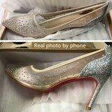Size 34-41 Mesh Air Crystal Women Pumps 10.5 7.5 Glitter Shallow Mouth Stilettos High Heels Woman Party Wedding Shoe