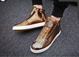 Sneakers Men High Top Microfiber Platform Shoes Brand Fashion Printmens Shoes Black PU Hot Footwear Male Vulcanize Shoes D5-17