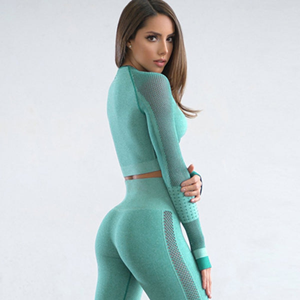 Sport Fitness Seamless Yoga Set Suit Female Mesh Workout Clothes  Gym for Women Leggings Breathable Sportwear Woman Yoga Suit