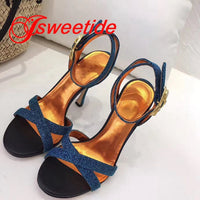 Spring Fashion New Brand Round Head Lady High Heels Sequin Sexy motorcycle Sandals designer Brand Woman Party Wedding Sandals