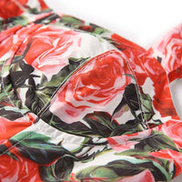 Spring Summer Floral Printed Women's Ball Gown Dress Sexy Spaghetti Strap Slash Neck Ruffled Pleated Ukraine Lady Dresses