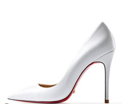Spring Summer Women's Sexy Pumps 12cm High Heeled Bright Genuine Leather Shoes Wedding Red Bottom Heels Silver Lady Stiletto OL