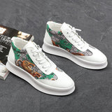 Stephoes Luxury Designer Men Fashion Casual Ankle Boots Spring Autumn Elastic Band Tiger Print Sneakers Male Youth Trend Shoes
