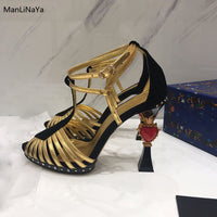 Heels with Fretwork Heart Women Party Sandal Runway Mixed Colors Woman Sandals Brand Design Female High Heels