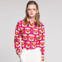 Street OL Blouses 2019 New Spring Fashion New Turn-Down Collar Single Breasted Fuchsia Women Preserved Print Designed Blouse