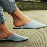 Summer Flats Lady Sandals Slippers Soild Color Slip On Pointed Toe Women Mules Outdoor Slipper Shoes Woman Slides