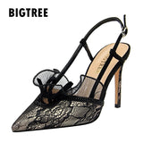 Summer Lace up women pumps Fashion Slingback High heels Female Shoes Elegant Thin heeled Office Lady Shoes Sandals Size 34-43