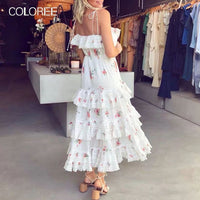 Summer Vacation Boho Beach Dress 2019 Elegant Layer Ruffles Strapless Floral Printed Lace Dress Hig Quality Runway Dress