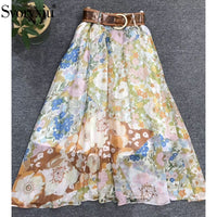 Svoryxiu 2019 Women's Autumn Runway Elegant Skirt Suit Flare Sleeve Ruffles Blouse + Long Skirt Flower Print Casual 2 Piece Set