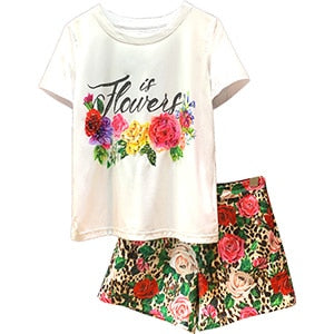 Svoryxiu Runway Designer Summer Shorts Two-Pieces Women's Short Sleeve letter Print White Tees + Leopard Shorts Casual Set