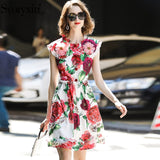 Svoryxiu Runway Summer Party Tank Dress Women's Charming Beading Appliques Peony Flower Printed Custom Big Size Short Dress