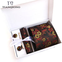 Free Return Return for any reason within 15 days TIAN QIONG Luxury Ties for Men Paisley Silk Jacquard Woven Tie Handkerchief Cufflinks&clips Gift Box Set Wedding Party Neck Tie
