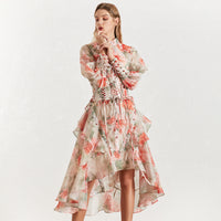 TWOTINSTYLE Vintage Print Women's Dress Stand Collar Lantern Sleeves Bandages High Waist Asymmetrical Print Dresses Female 2019