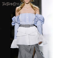 TWOTWINSTYLE Off Shoulder Sexy Women Blouse Slash Neck Flare Sleve Patchwork Hit Color Striped Shirt Female Korean 2019 Spring
