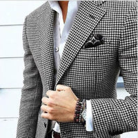 Tailor Made Houndstooth Mens Suits for Fall Wedding Prom Stage Classic 2 Piece Man Set Jacket with Black Pants Groom Tuxedos