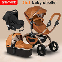 USA free ship ! European luxury 3 in 1 baby stroller high landscape baby pram can sit reclining two-way leather baby stroller