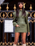 VC Free Shipping 2020 Army Green Blazer Dress Turn-down Collar Pockets Design Bodycon Vestidos Celebrity Christmas Party Dress