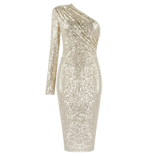 VC Free Shipping 2020 Sexy One Shoulder Dress Sparkle Glitzy Sequins Dress Mesh Patchwork Celebrity Christmas Party Vestidos