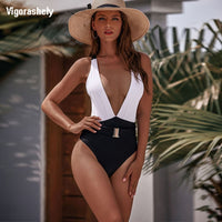 Vigorashely Sexy Deep V Neck Swimwear Women Vintage One Piece Swimsuit Female 2020 Bandage Monokini Solid Bathing Suit Swim Wear