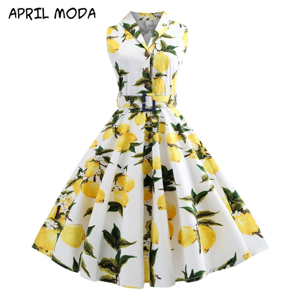FREE SHIPPING Vintage Lapel Print dress Fashion Casual Sleeveless Lapel Belt Cotton Big Swing Dress 2020 Spring Summer New