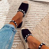 WENYUJH Summer Women Sweet Pearl Platform Wedges Sandals Comfort Fish Mouth Weave Causal High Heels Open Toe Chaussures 2019 New