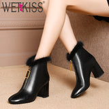 WETKISS 2019 Spring New Thick High Heels Women Ankle Boots Square Toe Zip Footwear Cow Leather Female Boot Fur Shoes Woman New