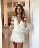 Spring Designer Runway Dress 2019 Sexy Elegant Ruffled Flare Sleeve White/Black/Pink Mesh Lace Patchwork Mini Dress Vestido