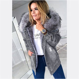 Winter Jacket Women Ripped Down Coat Padded Coat Women Denim Jacket Thick Hole Fluffy Large Natural Raccoon Fox Fur Hooded Coat