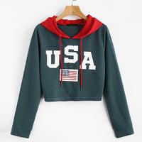 Womail Casual Hoodies harajuku kpop sweatshirt Womens 2019 Autumn USA Flag printed Long Sleeve Hooded Pullover Tops Blouse F711