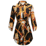 Women 2019 Spring Button Up Curved Sleeve Short Mini Dress Chains Print Belted Casual Shirt Dress